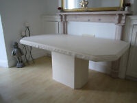 Maskreys Cream White Solid Stone Marble Dining Table. Beautiful item. 168cm long X 100cm deep.