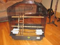 Black metal medium bird cage for finches, canaries, budgies and cockatiels. Excellent condition