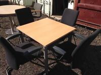 Square meeting table 80cm X 80cm with 4 chairs. Delivery