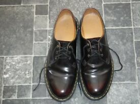 Dr Martens 1461 Arcadia Shoes Cherry Red. Yellow stitch. Size 9.