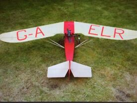 One fifth full size scale model aeroplane (parasol folding wing 'Dart Pup') with controller