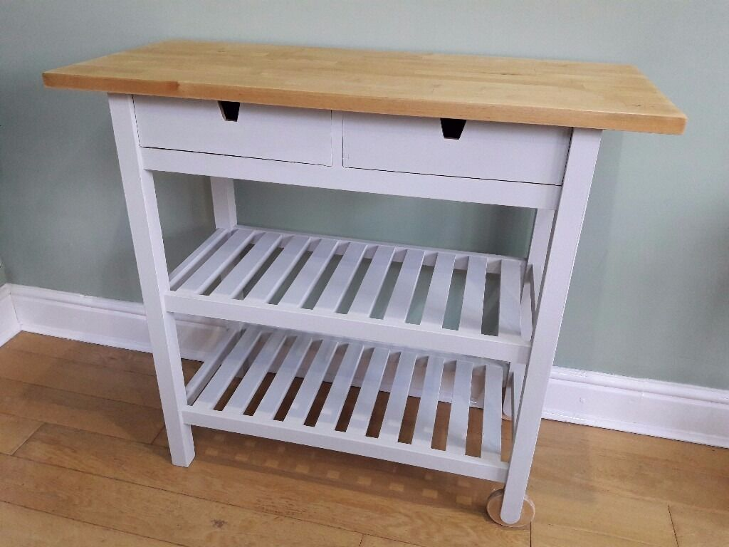 Grey Chalk Painted Kitchen Island Butchers Block Ikea Forhoja In