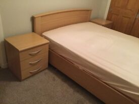 Double bed with mattress, 2 bedside tables and chest of drawers