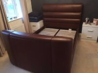TV BED - BROWN LEATHER - DOES NOT INCLUDE TV