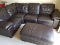 4 piece brown corner sofa with puffer