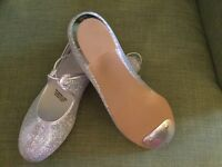 Silver Hologram tap shoes with low heel- Size 7