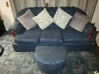3 Seater, 2 Armchairs with matching footstool