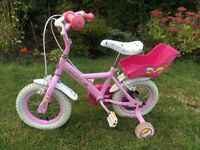 """Lovely girl's 12"""" Cupcake Apollo bike with stabilisers and doll carrier"""