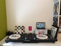 Vinyl DJ Setup - Traktor Z2 Mixer & 2 Numark TT250USB Turntables Decks