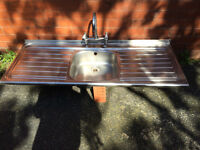 Stainless steel Double Drainer Kitchen Sink with mixer tap