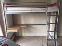 High sleeper single bed & desk Pink/Silver No Mattress VGC Flat Step Ladder