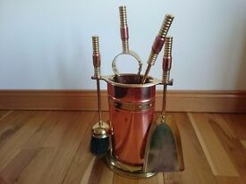 Fireplace tool set. Copper and brass
