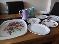 floral sandwich plates, flower jugs and large floral tray