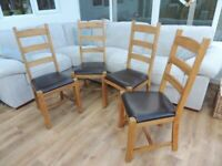 50% OFF RRP over £1000 - 4 x solid oak genuine leather seat high back chairs