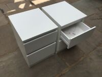 X2 IKEA KULLEN chest of two drawers - white