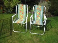 2 X Folding Deck Chairs - Multi- Purpose Patio - Garden - Beach Camping Caravan and Easy Storage