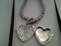 Rhinestone Heart Pendant and Necklace