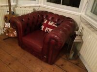 Red Leather Chesterfield Club Chair