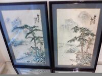 Lovely pair of silk oriental pictures