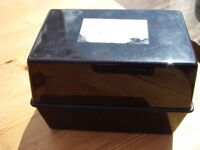 Black File records box. 1. Not cracked, hinges open. Great for keeping confidential records filed