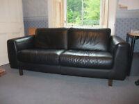 Black leather 3-seater Habitat sofa