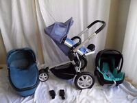 Quinny Buzz 3 Travel System Pushchair, folding Carrycot , Maxi Cosi car seat