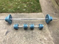 SOLID BARBELL AND SET OF SOLID BAR DUMBELLS WITH 55KG OF BODY SCULPTURE CAST IRON WEIGHTS