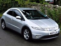 *3 MONTHS WARRANTY*(2007) HONDA CIVIC 1.8 5DR *FULL LEATHER* FSH - ALLOYS - 12 MONTHS MOT