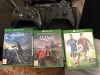 Unboxed Xbox One with two controllers, Final Fantasy 15, Assassins Creed Origins, Halo Wars & FIFA15