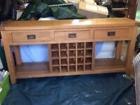 oak sideboard with wine rack