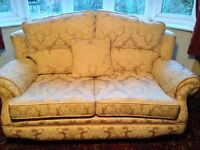 Cream and gold large 2 seater sofa