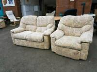 Patterned fabric 2 seater and recliner chair suite