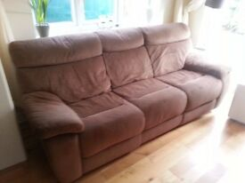 3 Seater Settee Brown brushed material - used - electric recliners not working - buyer collects