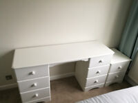 White Contemporary Dressing Table & Bedside Table - Great Quality