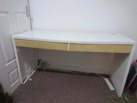 White Ikea Desk with wooden drawers