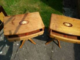 Pair or quality tables with marquetry tops solid