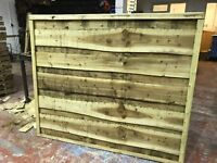 Super heavy duty waneylap fence panels 10mm boards pressure treated green/brown