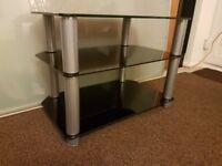 Corner TV stand / HI FI unit, black tempered glass