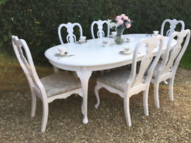 Stunning Shabby Chic Painted French Inspired Extending Dining Table and 6 Chairs