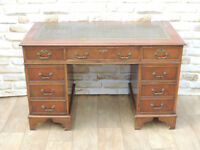 Antique style pedestal desk leather top (Delivery)