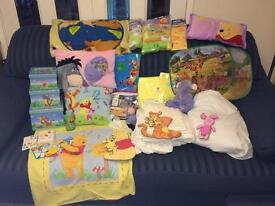Huge Bundle Pooh Bear Nursery & bedroom items inc.duvet,sheets,fleece cover ,cushions. Ex condition