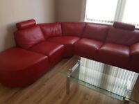 Red Leather Corner Sofa & Swivel Chair