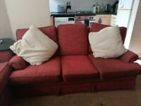 3 x Seater Red Sofa