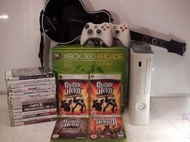 Microsoft Xbox 360 - 60 GB White Arcade Console + Guitar Hero Bundle + Kinect 360 + Games