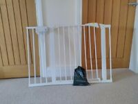 Mothercare stair gate with two extensions for wide staircase with all fittings.