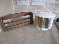 Leifheit Revolving Magnetic Spice Herb Jars Holder Rack Set and teak spice rack