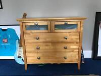 Light Oak 5 drawer chest of draws