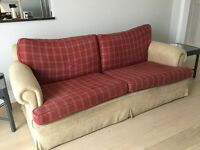 Large sofa 206x93 cm. beige with plaid cushions