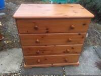 Solid chunky pine chest of drawers. Dovetail Joints. Tongue and groove. S