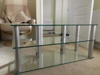 Stainless steel & heavy duty safety glass Television table (bought Panasonic shop)